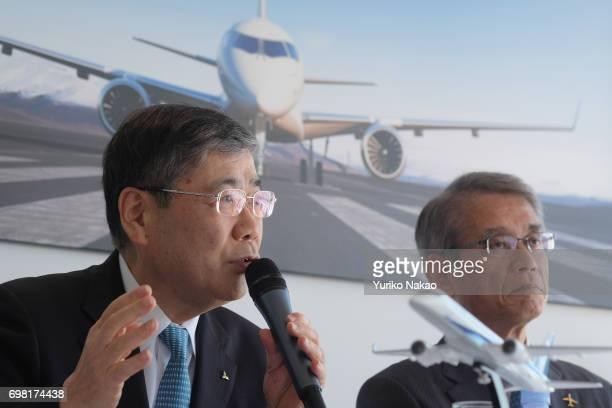 Hisakazu Mizutani Mitsubishi Aircraft Corporation's president and Shunichi Miyanaga attend a news conference on the third Flight Test Aircraft of...