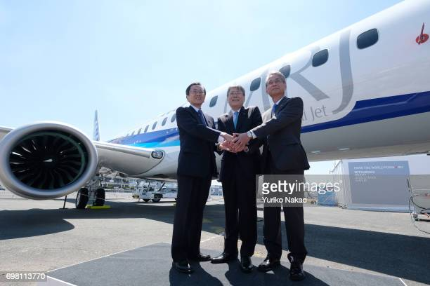 Hisakazu Mizutani Mitsubishi Aircraft Corporation's president Shunichi Miyanaga Mitsubishi Heavy Industries' President and Chief Executive Officer...