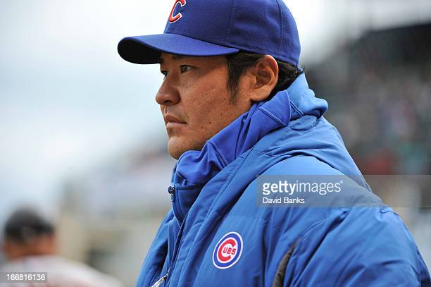 Hisanori Takahashi of the Chicago Cubs during a game against the San Francisco Giants on April 13 2013 at Wrigley Field in Chicago Illinois