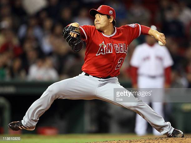 Hisanori Takahashi of the Los Angeles Angels delivers a pitch in the seventh inning against the Boston Red Sox on May 2 2011 at Fenway Park in Boston...