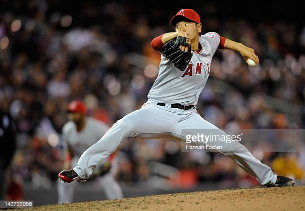 Hisanori Takahashi of the Los Angeles Angels of Anaheim delivers a pitch against the Minnesota Twins during the seventh inning on April 11 2012 at...