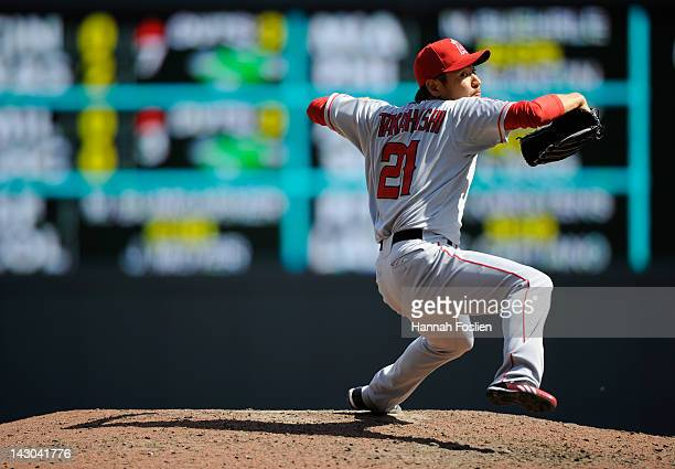 Hisanori Takahashi of the Los Angeles Angels of Anaheim delivers a pitch against the Minnesota Twins on April 12 2012 at Target Field in Minneapolis...