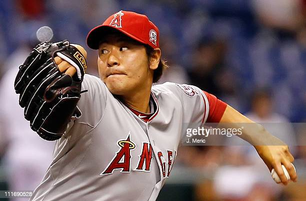 Hisanori Takahashi of the Los Angeles Angels of Anaheim pitches against the Tampa Bay Rays during the game at Tropicana Field on April 5 2011 in St...