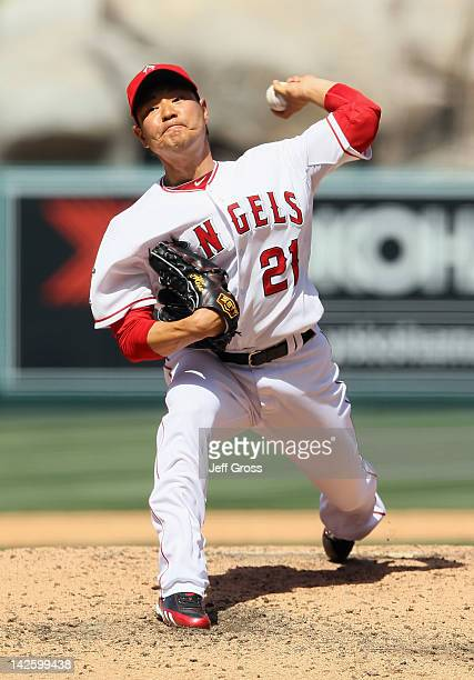 Hisanori Takahashi of the Los Angeles Angels of Anaheim pitches against the Kansas City Royals at Angel Stadium of Anaheim on April 7 2012 in Anaheim...