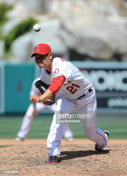 Hisanori Takahashi of the Los Angeles Angels of Anaheim pitches against the Kansas City Royals at Angel Stadium of Anaheim on April 8 2012 in Anaheim...