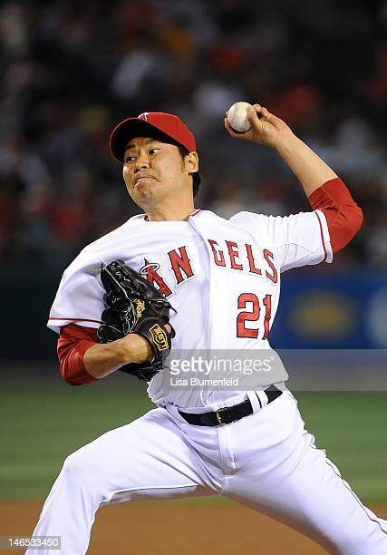 Hisanori Takahashi of the Los Angeles Angels of Anaheim pitches against the San Francisco Giants at Angel Stadium of Anaheim on June 18 2012 in...
