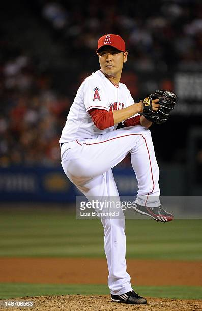 Hisanori Takahashi of the Los Angeles Angels of Anaheim pitches against the Los Angeles Dodgers at Angel Stadium of Anaheim on June 22 2012 in...
