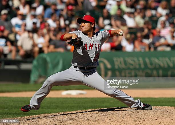 Hisanori Takahashi of the Los Angeles Angels of Anaheim pitches against the Chicago White Sox at US Cellular Field on August 5 2012 in Chicago...