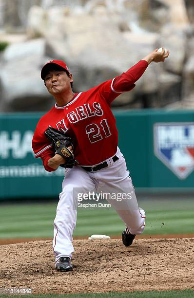 Hisanori Takahashi of the Los Angeles Angels of Anaheim throws a pitch against the Boston Red Sox on April 24 2011 at Angel Stadium in Anaheim...
