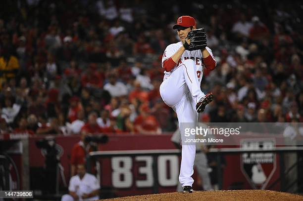 Hisanori Takahashi of the Los Angeles Angels of Anaheimpitches against the Oakland Athletics during a game at Angel Stadium of Anaheim on May 14 2012...