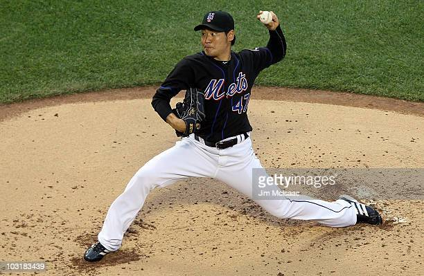 Hisanori Takahashi of the New York Mets delivers a pitch against the Arizona Diamondbacks on July 31 2010 at Citi Field in the Flushing neighborhood...