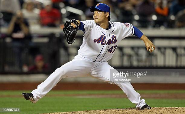 Hisanori Takahashi of the New York Mets delivers a pitch against the Houston Astros on August 27 2010 at Citi Field in the Flushing neighborhood of...