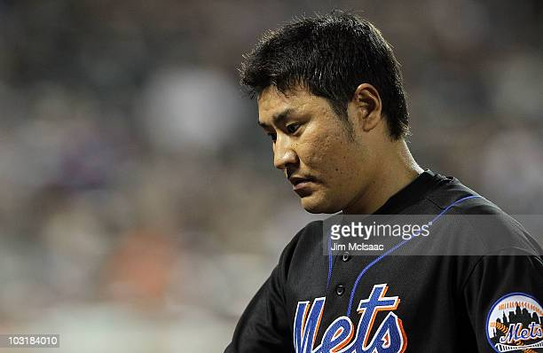 Hisanori Takahashi of the New York Mets looks on against the Arizona Diamondbacks on July 31 2010 at Citi Field in the Flushing neighborhood of the...