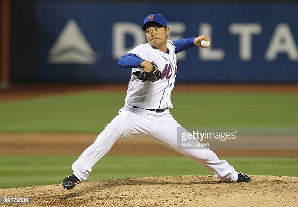 Hisanori Takahashi of the New York Mets pitches against the Washington Nationals at Citi Field on May 11 2010 in the Flushing neighborhood of the...