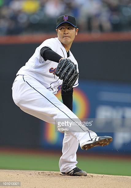 Hisanori Takahashi of the New York Mets pitches against the New York Yankees during their game on May 21 2010 at Citi Field in the Flushing...