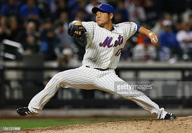 Hisanori Takahashi of the New York Mets pitches against the Pittsburgh Pirates on September 15 2010 at Citi Field in the Flushing neighborhood of the...