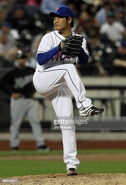 Hisanori Takahashi of the New York Mets pitches in the tenth inning against the Florida Marlins on April 7 2010 at Citi Field in the Flushing...