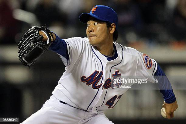 Hisanori Takahashi of the New York Mets throws a pitch against the Florida Marlins on April 8 2010 at Citi Field in the Flushing neighborhood of the...