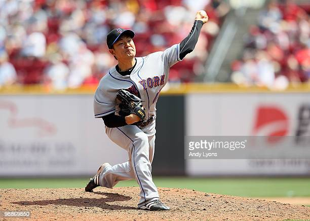 Hisanori Takahashi of the New York Mets throws a pitch during the game against the Cincinnati Reds on May 5 2010 at Great American Ballpark in...