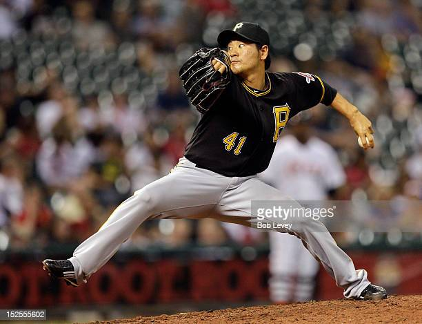Hisanori Takahashi of the Pittsburgh Pirates pitches against the Houston Astros at Minute Maid Park on September 21 2012 in Houston Texas