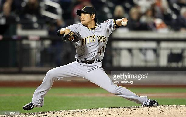 Hisanori Takahashi of the Pittsburgh Pirates pitches against the New York Mets at Citi Field on September 24 2012 in the Flushing neighborhood of the...