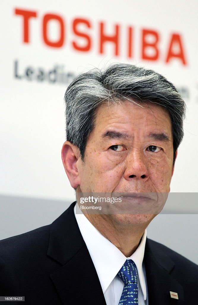 Hisao Tanaka, corporate senior executive vice president of Toshiba Corp., attends a news conference in Tokyo, Japan, on Tuesday, Feb. 26, 2013. Toshiba, the Japanese maker of flash-memory chips, elevators and nuclear reactors, said Tanaka will take over as president in June as it tries to bolster growth from energy and chip operations. Photographer: Junko Kimura/Bloomberg via Getty Images