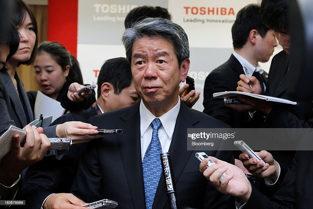 Hisao Tanaka, corporate senior executive vice president of Toshiba Corp., speaks to reporters at a news conference in Tokyo, Japan, on Tuesday, Feb. 26, 2013. Toshiba, the Japanese maker of flash-memory chips, elevators and nuclear reactors, said Tanaka will take over as president in June as it tries to bolster growth from energy and chip operations. Photographer: Junko Kimura/Bloomberg via Getty Images