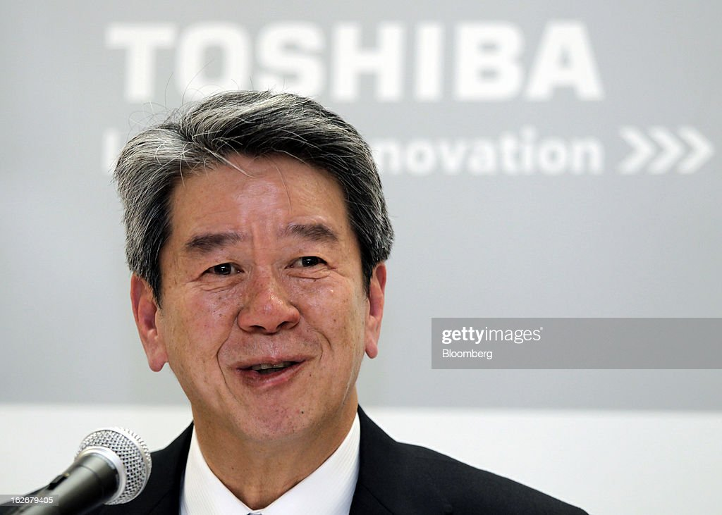 Hisao Tanaka, corporate senior executive vice president of Toshiba Corp., speaks during a news conference in Tokyo, Japan, on Tuesday, Feb. 26, 2013. Toshiba, the Japanese maker of flash-memory chips, elevators and nuclear reactors, said Tanaka will take over as president in June as it tries to bolster growth from energy and chip operations. Photographer: Junko Kimura/Bloomberg via Getty Images