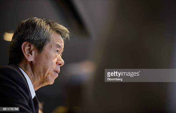 Hisao Tanaka outgoing president and chief executive officer of Toshiba Corp reacts during a news conference in Tokyo Japan on Tuesday July 21 2015...
