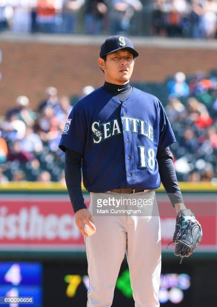 Hisashi Iwakuma of the Seattle Mariners looks on while pitching in the sixth inning of the game against the Detroit Tigers at Comerica Park on April...
