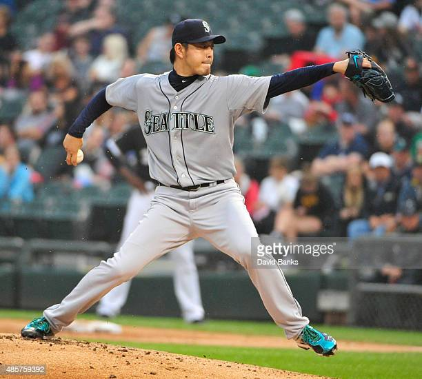 Hisashi Iwakuma of the Seattle Mariners pitches against the Chicago White Sox during the first inning on August 29 2015 at US Cellular Field in...