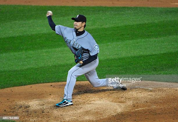 Hisashi Iwakuma of the Seattle Mariners pitches against the Chicago White Sox during the third inning on August 29 2015 at US Cellular Field in...
