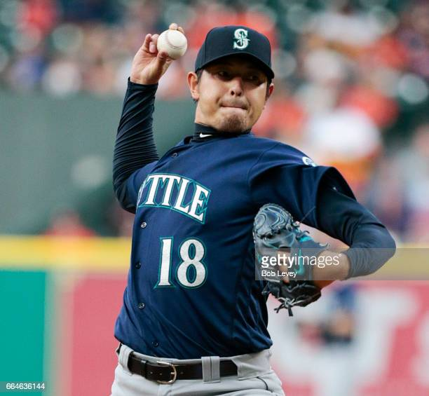 Hisashi Iwakuma of the Seattle Mariners pitches in the first inning against the Houston Astros at Minute Maid Park on April 4 2017 in Houston Texas