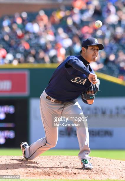 Hisashi Iwakuma of the Seattle Mariners pitches in the sixth inning of the game against the Detroit Tigers at Comerica Park on April 27 2017 in...
