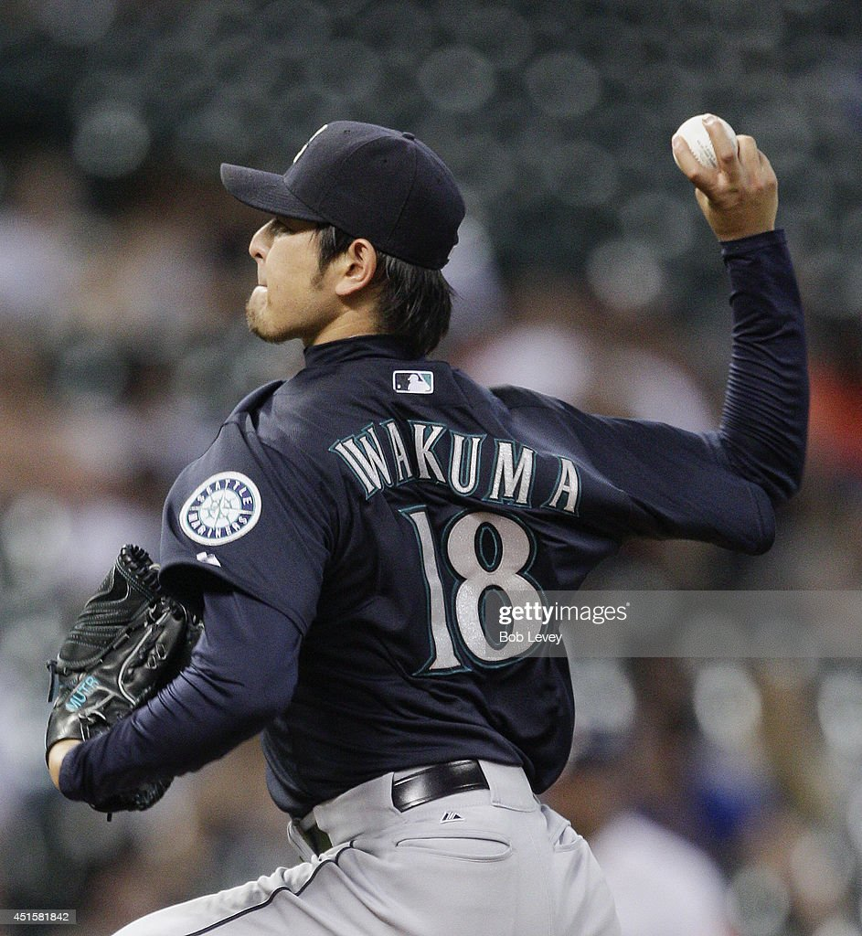 <a gi-track='captionPersonalityLinkClicked' href=/galleries/search?phrase=Hisashi+Iwakuma&family=editorial&specificpeople=5723798 ng-click='$event.stopPropagation()'>Hisashi Iwakuma</a> #18 of the Seattle Mariners throws against the Houston Astros at Minute Maid Park on July 1, 2014 in Houston, Texas.