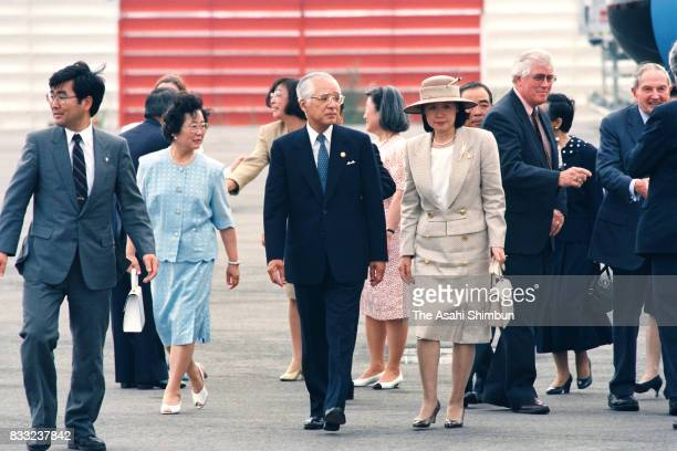 Hisashi Owada Japanese Ambassador to the United Nations and father of Crown Princess Masako and his wife Yumiko are seen after welcoming Emperor...