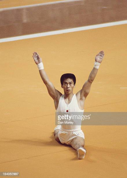Hisato Igarashi of Japan during the Men's Floor Exercise event on 23rd July 1976 during the XXI Olympic Summer Games at the Montreal Forum Montreal...