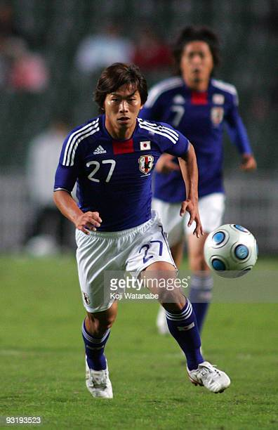 Hisato Sato of Japan in action during AFC Asia Cup 2011 Qatar qualifier match between Hong Kong and Japan at Hong Kong Stadium on November 18 2009 in...
