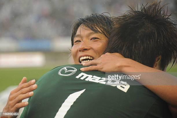 Hisato Sato of Sanfecce Hiroshima celebrates with Shusaku Nishikawa after the JLeague match between Sanfrecce Hiroshima and Cerezo Osaka at Hiroshima...