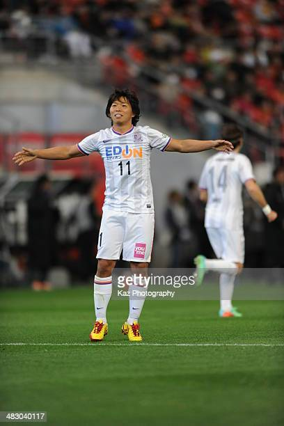 Hisato Sato of Sanfrecce Hiroshima celebrates his penalty goal as team's 3rd goal during the J League match between Nagoya Grampus and Sanfrecce...