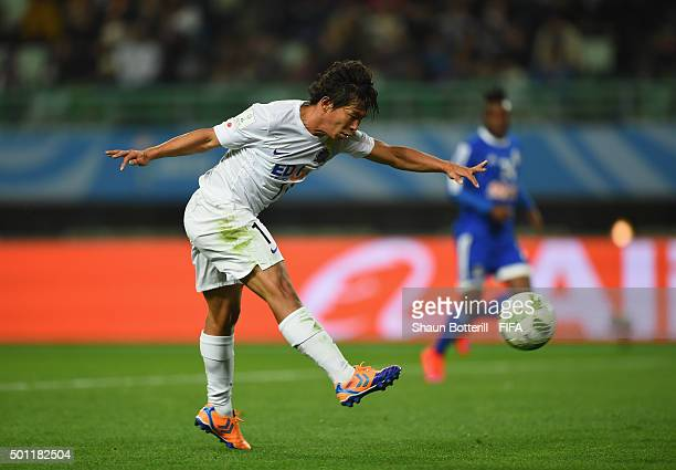 Hisato Sato of Sanfrecce Hiroshima fires in a shot during the the FIFA Club World Cup Quarter Final match between TP Mazembe and Sanfrecce Hiroshima...