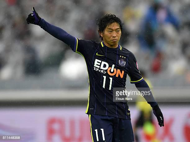 Hisato Sato of Sanfrecce Hiroshima gestures during the FUJI XEROX SUPER CUP 2016 match between Sanfrecce Hiroshima and Gamba Osaka at Nissan Stadium...