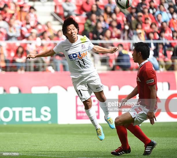 Hisato Sato of Sanfrecce Hiroshima heads the ball during the JLeague match between Nagoya Grampus anbd Sanfrecce Hiroshima at Toyota Stadium on April...