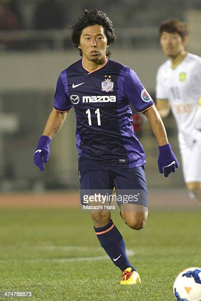 Hisato Sato of Sanfrecce Hiroshima in action during the AFC Champions League match between Sanfrecce Hiroshima and Beijing Guoan at Hiroshima Big...