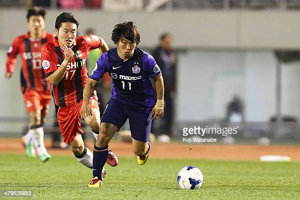 Hisato Sato of Sanfrecce Hiroshima in action during the AFC Champions League match between Sanfrecce Hiroshima and FC Seoul at Hiroshima Big Arch on...