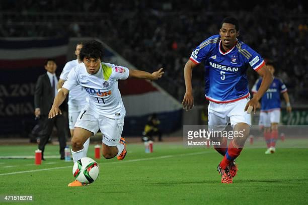 Hisato Sato of Sanfrecce Hiroshima in action during the JLeague match between Yokohama FMarinos and Sanfrecce Hiroshima at Nissan Stadium on April 29...