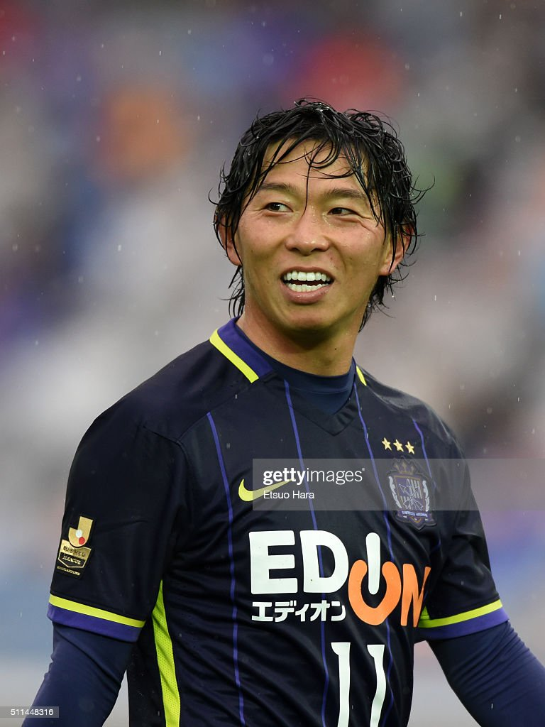 <a gi-track='captionPersonalityLinkClicked' href=/galleries/search?phrase=Hisato+Sato&family=editorial&specificpeople=713823 ng-click='$event.stopPropagation()'>Hisato Sato</a> of Sanfrecce Hiroshima looks on during the FUJI XEROX SUPER CUP 2016 match between Sanfrecce Hiroshima and Gamba Osaka at Nissan Stadium on February 20, 2016 in Yokohama, Japan.