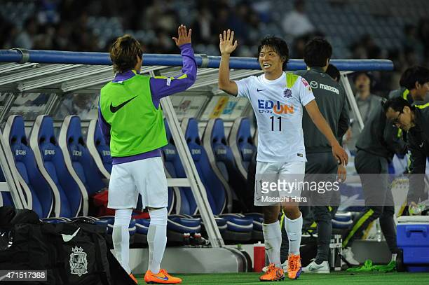Hisato Sato of Sanfrecce Hiroshima looks on during the JLeague match between Yokohama FMarinos and Sanfrecce Hiroshima at Nissan Stadium on April 29...