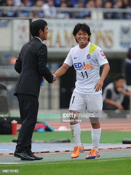 Hisato Sato of Sanfrecce Hiroshima looks on during the JLeague match between Gamba Osaka and Sanfrecce Hiroshima at the Expo '70 Stadium on November...