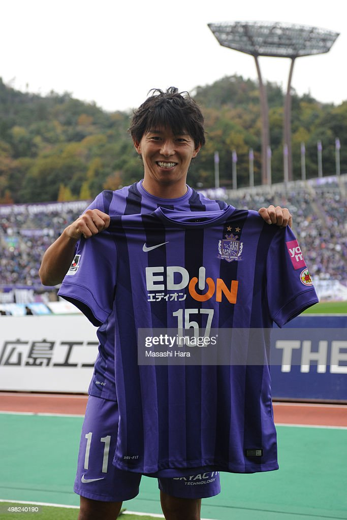 <a gi-track='captionPersonalityLinkClicked' href=/galleries/search?phrase=Hisato+Sato&family=editorial&specificpeople=713823 ng-click='$event.stopPropagation()'>Hisato Sato</a> of Sanfrecce Hiroshima poses after the J. League match between Sanfrecce Hiroshima and Shonan Bellmare at the Edion Stadium Hiroshima on November 22, 2015 in Hiroshima, Japan. <a gi-track='captionPersonalityLinkClicked' href=/galleries/search?phrase=Hisato+Sato&family=editorial&specificpeople=713823 ng-click='$event.stopPropagation()'>Hisato Sato</a> scored a record-equalling 157th goal tying Masashi Nakayama's record. Sanfrecce Hiroshima secured the J. League's 2nd stage title.